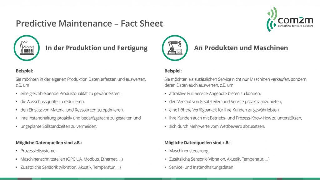 com2m Fact Sheet zu Predictive Maintenance